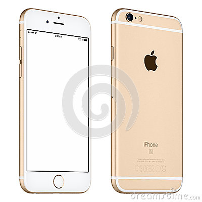 Free Gold Apple IPhone 6S Mockup Slightly Rotated Front View With Stock Image - 67263001