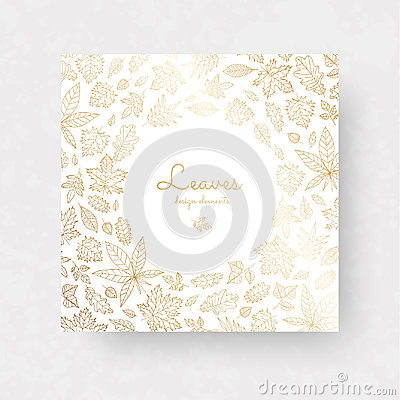 Free Gold Autmun Leaves. Ornate Decor For Invitations, Wedding Greeting Cards, Certificate, Labels. Stock Image - 98317091