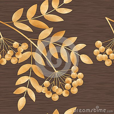Free Gold Autumn Leaves And Rowan-berry Stock Images - 48102974