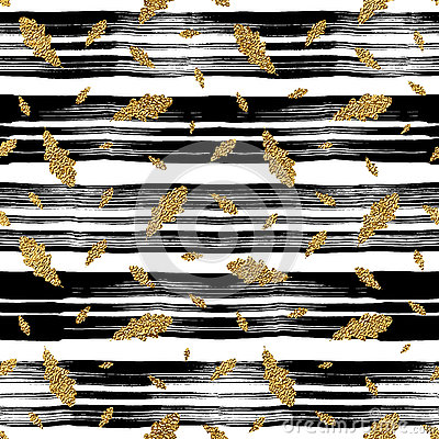 Free Gold Autumn Leaves Oak Seamless Pattern On Linear Background Stock Photos - 79731773