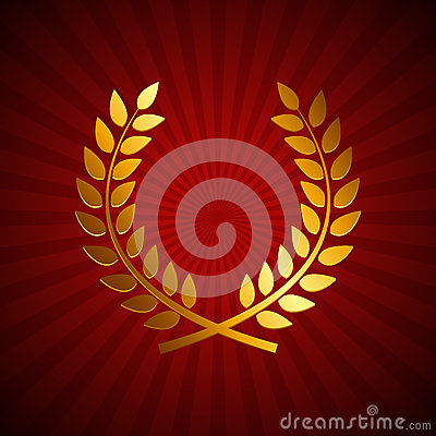 Gold Award Laurel Wreath Winner Leaf Label Symbol Of Victory
