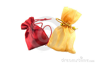 Gold bag and red bag
