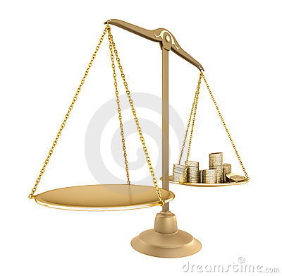Gold balance. Something equal with money