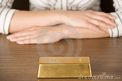 Gold Bar On Desk
