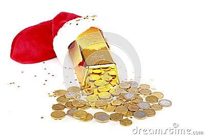 Gold bar and euro money