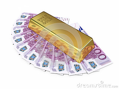 Gold bar and five hundred euro money