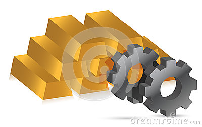 Gold bars and gears illustration design
