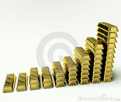 Gold Bars Graph As Symbol For Increasing Wealth
