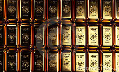 Gold Bars in Rows