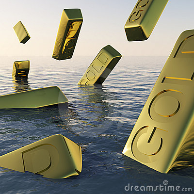 Gold Bars Sinking  Showing Depression