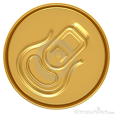 Gold beer can top view