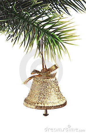 Gold bell on the Christmas tree