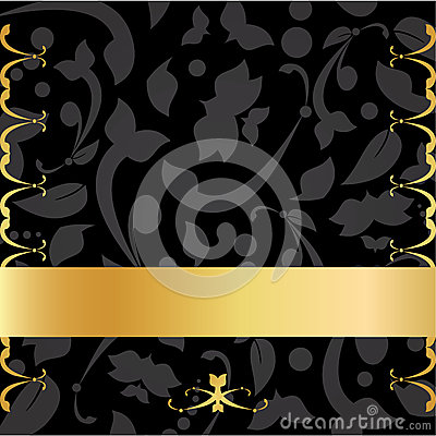 Gold & Black Decorative Background Card