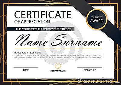 Gold Black Elegance Horizontal Certificate With Vector Illustration