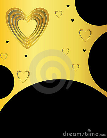 Gold and black heart background