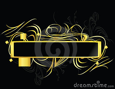 Gold black rectangular element