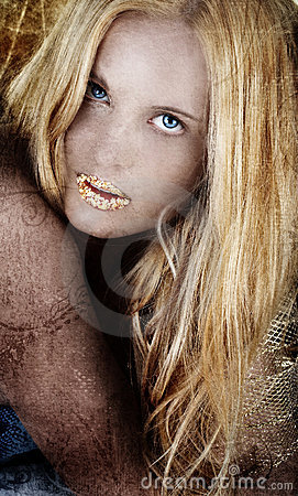 Gold blond woman on grunge.