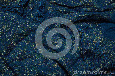 Gold and blue fabric with fringe background