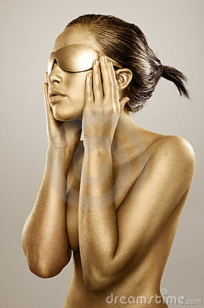 Free Gold Bodypainted Girl Stock Photography - 11625402
