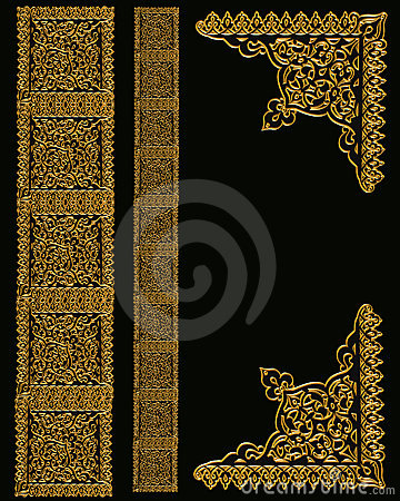 Gold Border Designs On Black Stock Photos Image 4553503