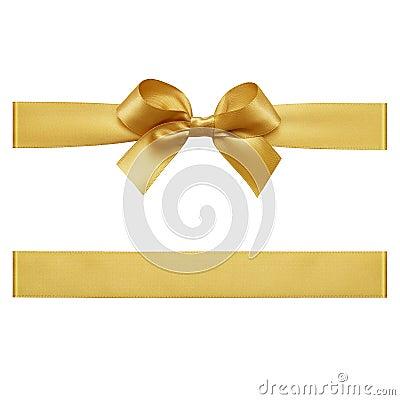 Free Gold Bow Made Of Satin Ribbon Stock Image - 104361981