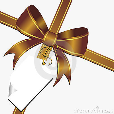 Gold bow with tag