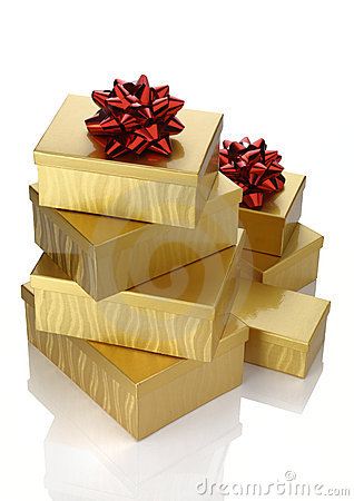 Gold Boxes Red Bow