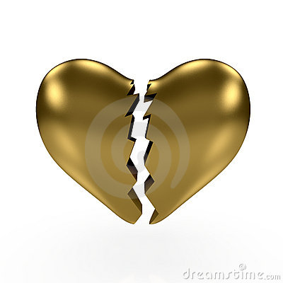 Gold broken heart
