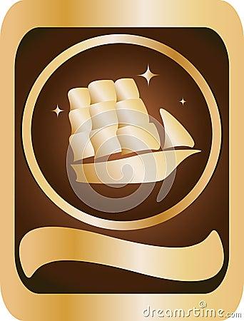 Gold, brown emblem