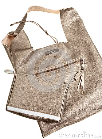 Gold brown soft leather woman s bag