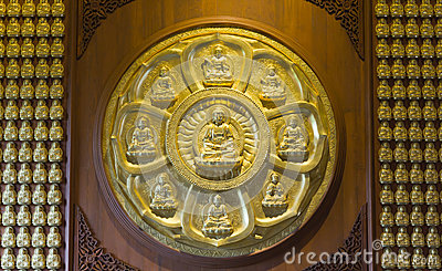 Gold Buddha on the wall