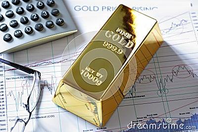 Gold bullion bar on a stocks and shares chart