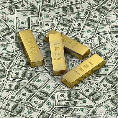 Gold bullion or four ingots on US dollar banknotes