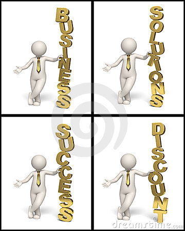Gold business text icons collage - 3d man