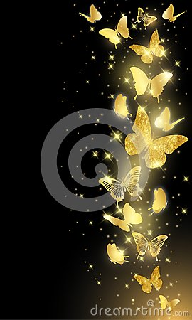 Free Gold Butterflies On Black Background Royalty Free Stock Images - 104488839