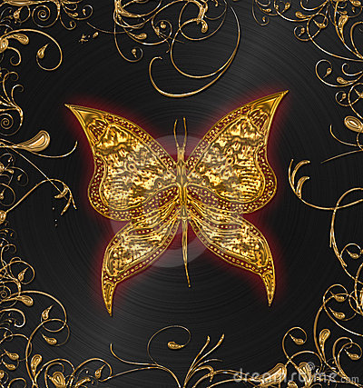Free Gold Butterfly Stock Photo - 10432050