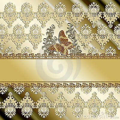Gold butterfly damask background