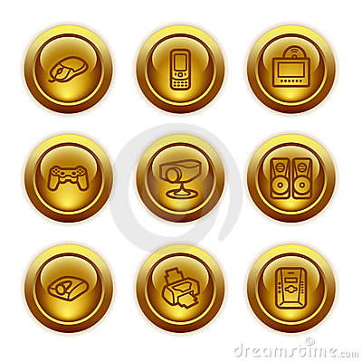 Gold button web icons, set 21