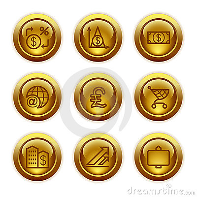 Gold button web icons, set 23