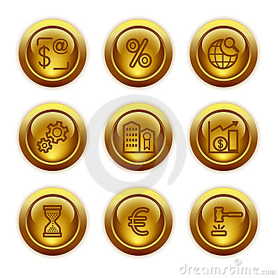 Gold button web icons, set 25