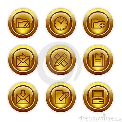 Gold button web icons, set 27