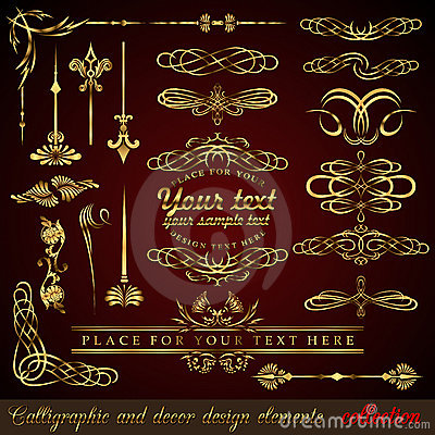 Free Gold Calligraphic Design Elements Royalty Free Stock Image - 18118636