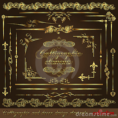 Free Gold Calligraphic Design Elements Vol2 Royalty Free Stock Photo - 22021795