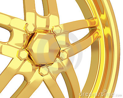 Gold car disc closeup