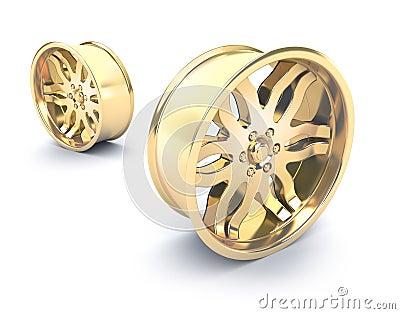 Gold car rims concept