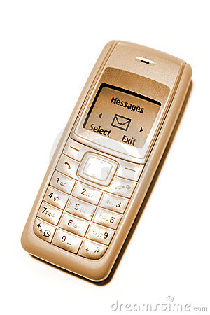 Gold cellphone with messages