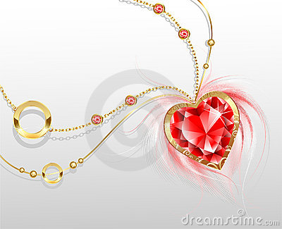 Gold chain with a ruby heart