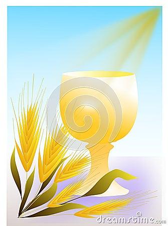 Gold chalice communion