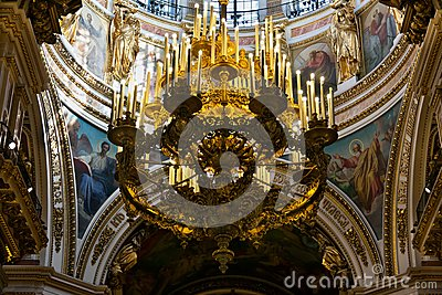 Gold chandelier in the old church