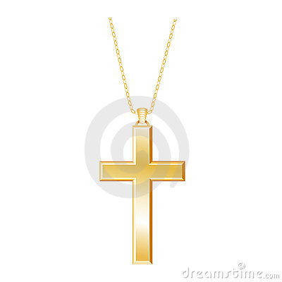 Gold Christian Cross and Chain